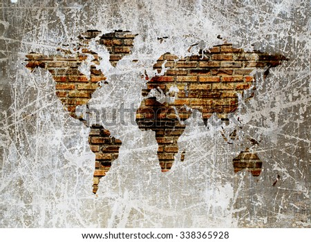 grunge image of old dirty brick wall in shape of world map - stock photo