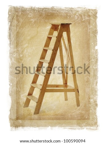 grunge image of old wooden stepladder