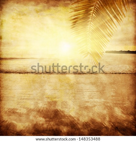 Grunge image of seascape at sunset. - stock photo