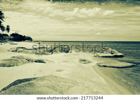grunge image of tropical beach - stock photo