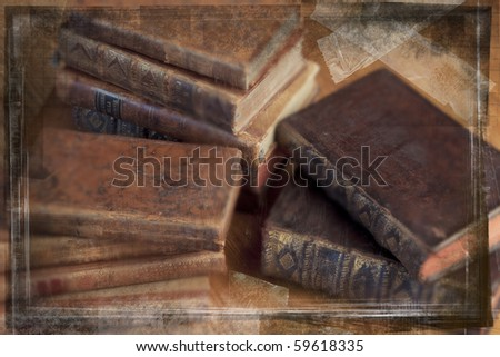 Grunge image of vintage books lying on a wooden table. - stock photo