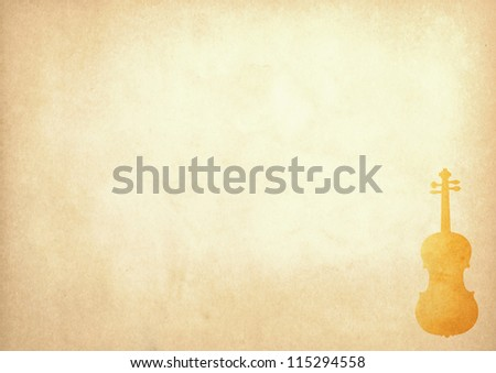 Grunge image of violin from old paper with copy space - stock photo