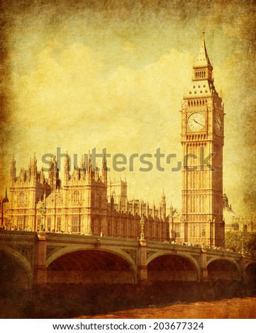 Grunge image with Houses of Parliament,  London, UK. - stock photo
