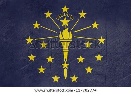 Grunge Indiana state flag of America, isolated on white background. - stock photo