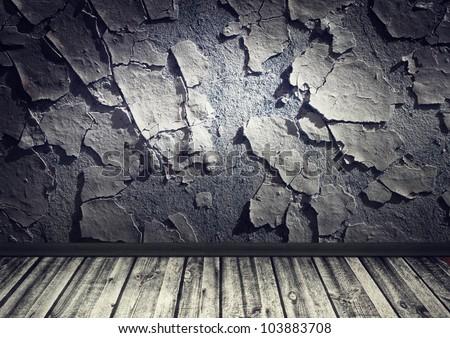 grunge interior, cracked wall wooden floor - stock photo