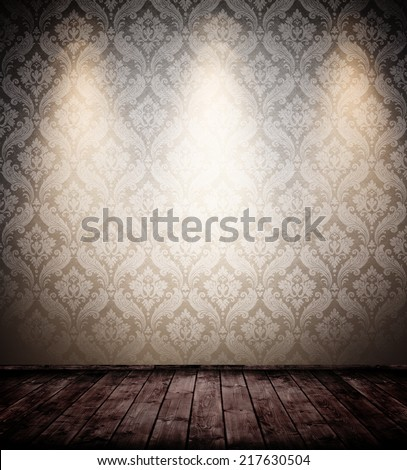 grunge interior room with baroque wallpaper.  - stock photo
