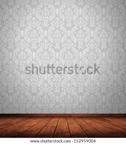 grunge interior room with retro wallpaper. - stock photo