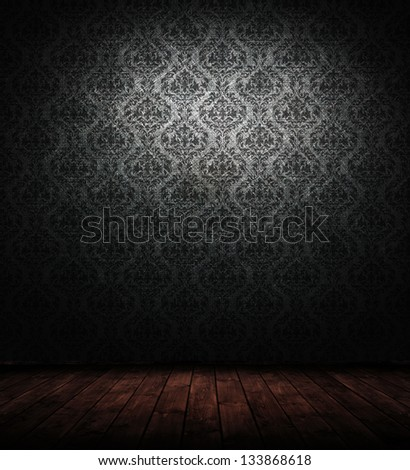 grunge interior with baroque wallpaper.