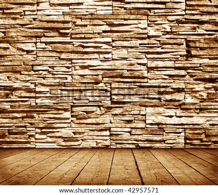 Grunge interior with stone wall. More available in my portfolio. - stock photo
