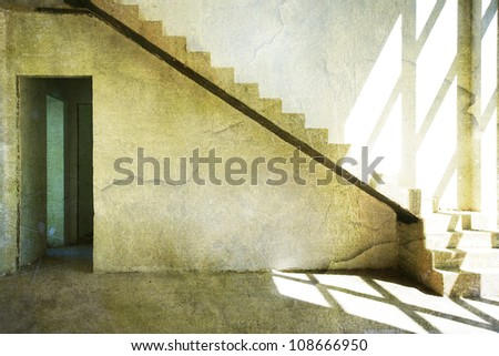 Grunge interior with structured effect. Room with stairs and light from the window - stock photo