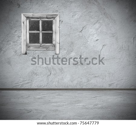 grunge interior with window - stock photo