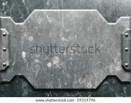 grunge iron plate (metal construction) - stock photo