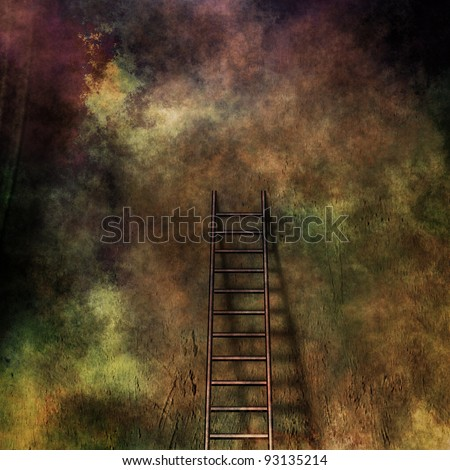Grunge ladder leans against grunge wall - stock photo