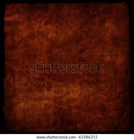 Grunge leather  background with border - stock photo