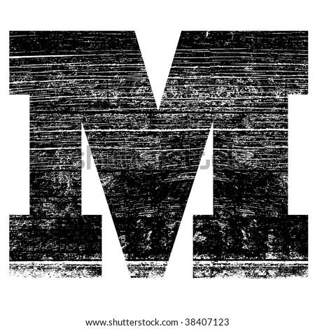 grunge letter M alphabet symbol design - stock photo