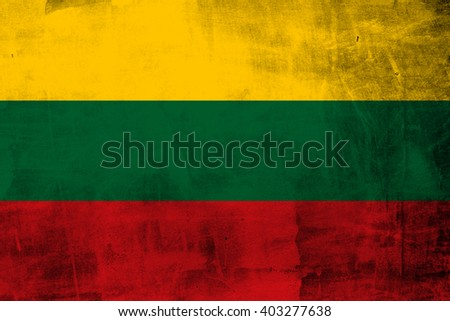 Grunge  Lithuania Flag on the concrete wall  - stock photo