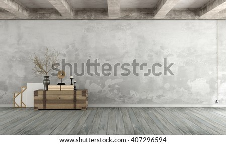 Grunge Living room with old wall ,wooden chest on floor and concrete beams - 3d Rendering
