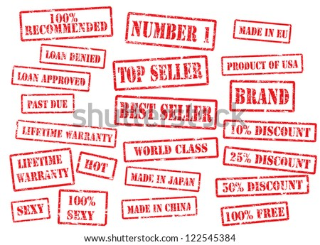Grunge looking stamps for retail - stock photo