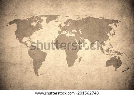 grunge map of the world  - stock photo