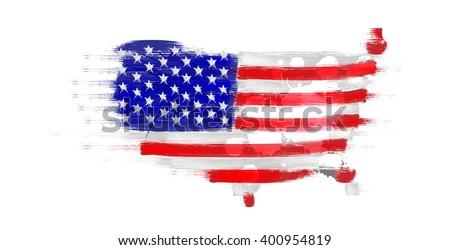 Grunge Map United States Us Flag Stock Illustration 400954819