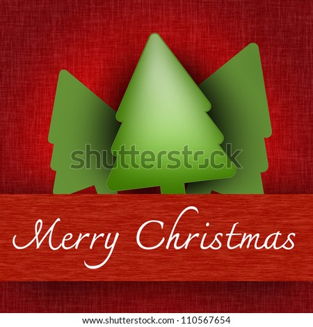 Grunge Merry Christmas Pop Up Card With Christmas Trees and Merry Christmas Banner in Red Background - stock photo