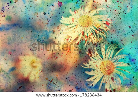 grunge messy artwork with small chamomiles and watercolor splatter - stock photo