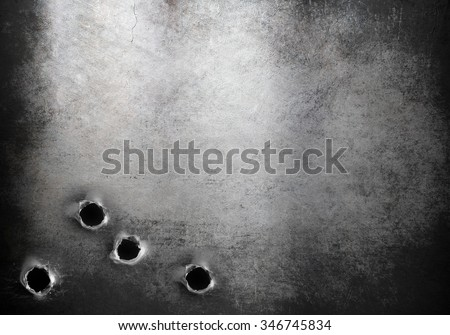 grunge metal armor background with bullet holes - stock photo