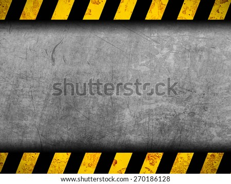 Grunge metal background with black and yellow warning stripes - stock photo