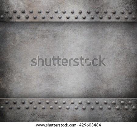 grunge metal background with rivets 3d illustration - stock photo
