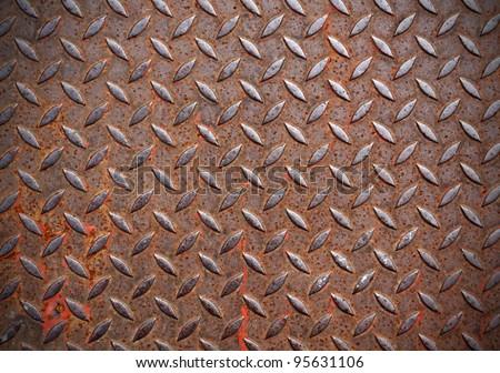 Grunge metal diamond plate - stock photo