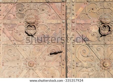 Grunge metal door background - stock photo