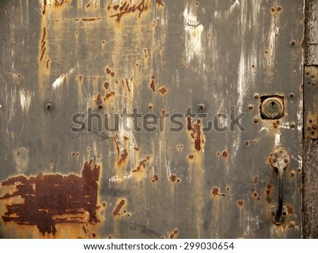 grunge metal door texture - stock photo
