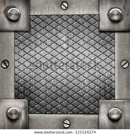 grunge metal frame with  screws and rivets ; abstract industrial  background - stock photo