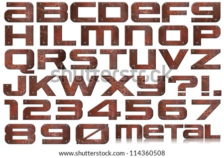 Grunge Metal Letters and Numbers / Brown grunge metal alphabet and numbers with screws on white background - stock photo