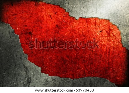 Grunge metal plate on red background - stock photo