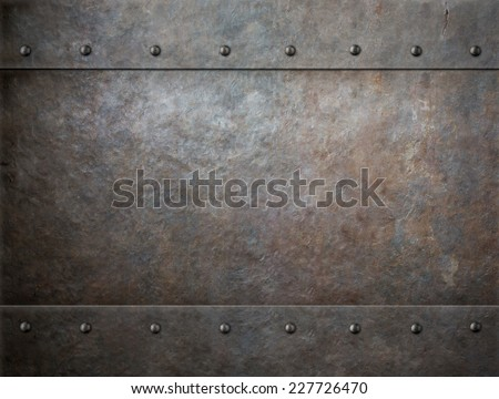 grunge metal with rivets background - stock photo