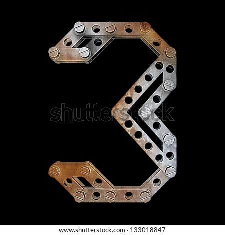 grunge metallic figure with rivets and screws isolated on black background 3d render high resolution