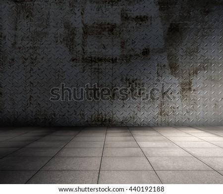 grunge metallic interior, urban background - stock photo