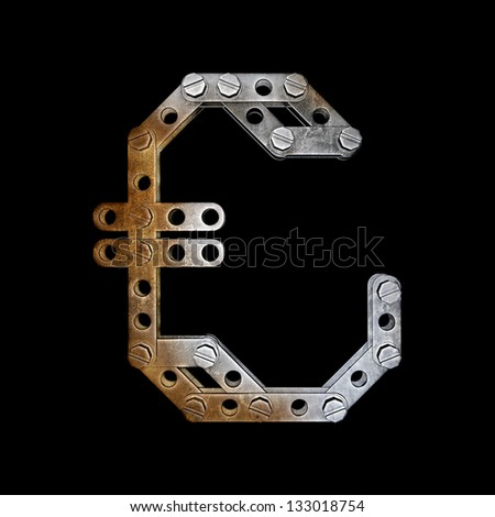 grunge metallic symbol currency with rivets and screws isolated on black background 3d render high resolution