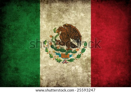 Grunge Mexican flag - stock photo