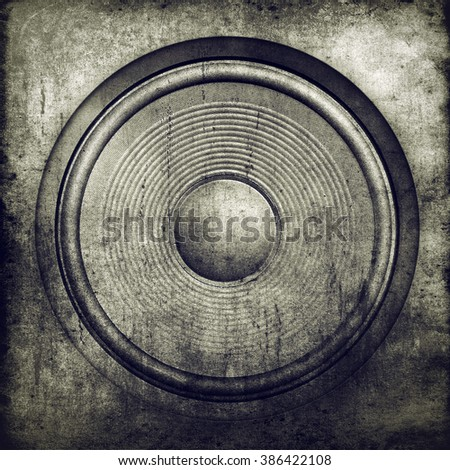 Grunge music background, audio speaker