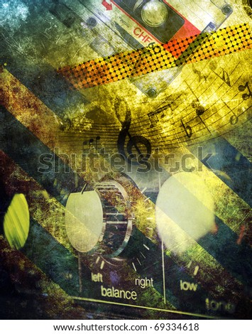 Grunge musical background, compact cassette and amplifier - stock photo