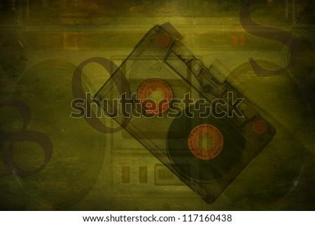 Grunge musical background, underground scratched design - stock photo