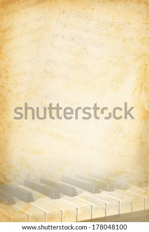 Grunge musical background with music page and piano keys. Music concept with musical instrument  on an old paper texture background. - stock photo