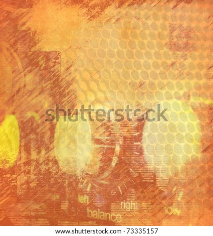 Grunge musical illustration, brown color, illustration - stock photo