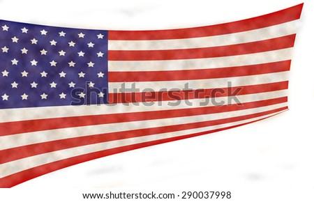 Grunge national flag of the USA isolated on white background. - stock photo