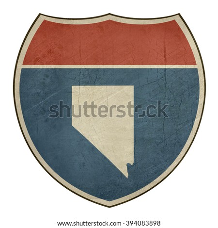 Grunge Nevada American interstate highway road shield isolated on a white background. - stock photo
