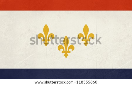 Grunge New Orleans city flag, state of Louisiana, U.S.A. - stock photo