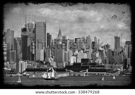 grunge new york city old large sailing ship in hudson - stock photo