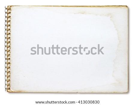 Grunge notebook isolated on white background - stock photo